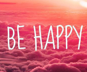 happy, pink, and clouds image