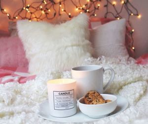 bed, candle, and light image