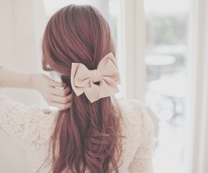hair, bow, and pretty image