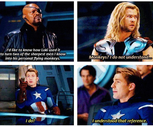thor, captain america, and funny image