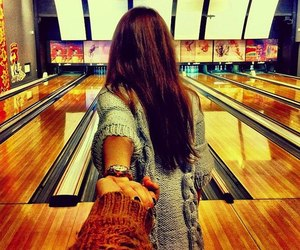 bowling, couple, and follow me image