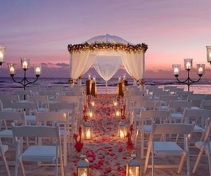 beach, wedding, and candles image