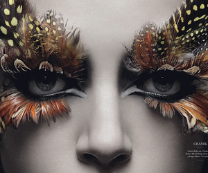eyes, feather, and makeup image