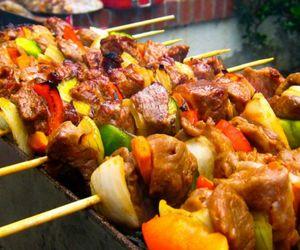 bbq, kabobs, and meat image