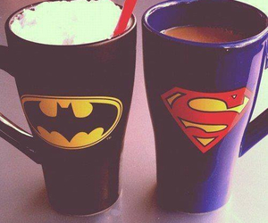batman, superman, and cup image