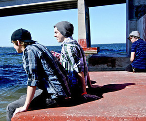 boy, friends, and sea image