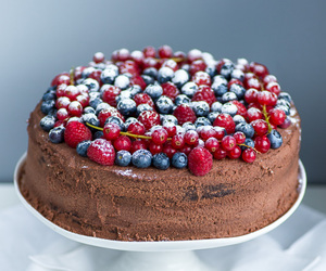 berries, chocolate, and cake image