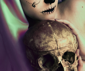 skull, girl, and death image