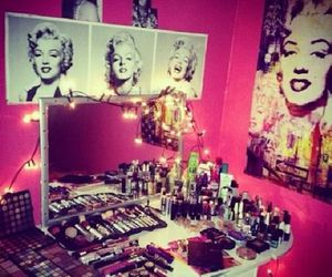 makeup, pink, and Marilyn Monroe image