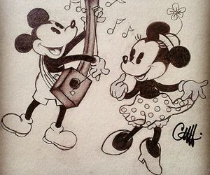 couple, drawing, and minnie image
