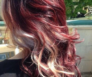 blonde, burgundy, and curled image