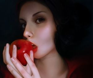 snow white, apple, and red image