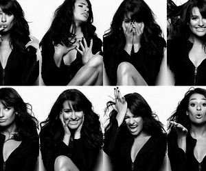 lea michele, black and white, and glee image