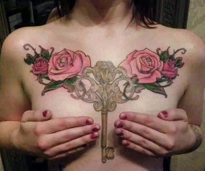 chest tattoo, key, and roses image