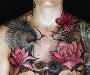 chest tattoo, tatto, and inked tattoo image