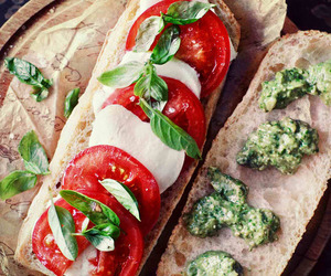 food, tomato, and sandwich image