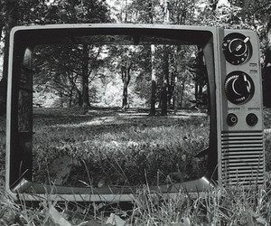 tv, black and white, and nature image