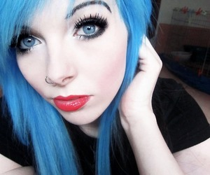 blue hair, emo, and hair image
