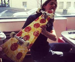 pizza, skate, and boy image