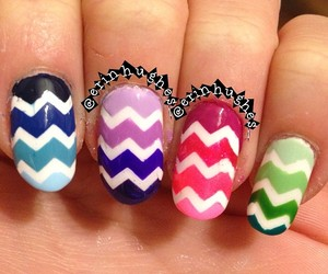 blue, chevron, and green image