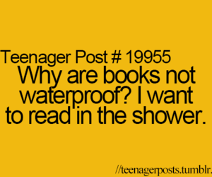 book, shower, and teenager post image