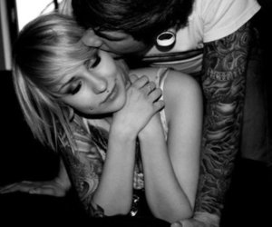 black and white, Piercings, and couple image