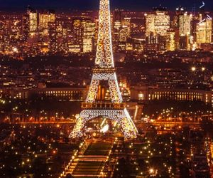 eiffiel tower, love, and night image
