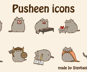 pusheen, cat, and icons image