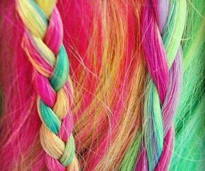 hair, colorful, and rainbow image