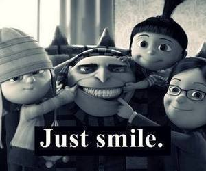 black and white, just smile, and despicable me image