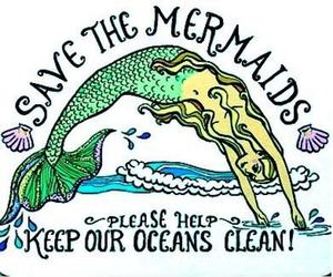 mermaid, ocean, and save image