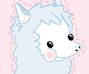 alpaca, blue, and kawaii image