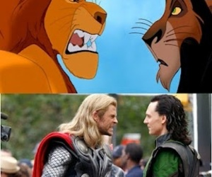 thor, loki, and mufasa image