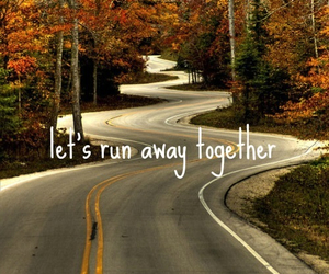 autumn, road, and together image