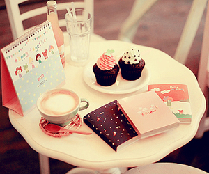 cupcake, book, and pink image