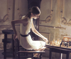 girl, chess, and model image