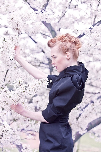 cherry blossoms, fashion, and flowers image