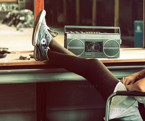 music, converse, and radio image