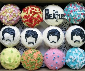 cupcakes, food, and the beatles image