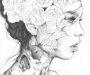 blackandwhite, drawing, and flowers image