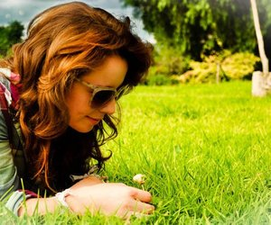 green, hair, and sunglasses image