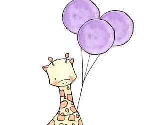 giraffe, animal, and balloons image
