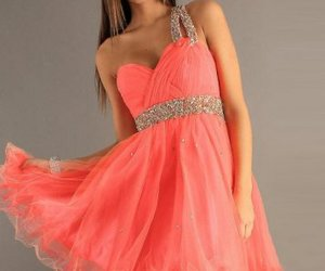 coral pleated prom dress image
