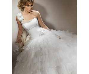 ball gown, bridal gown, and one shoulder image