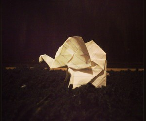 black and white and origami elephant image