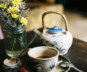 vintage, flowers, and tea image