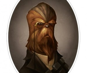 chewbacca, drawing, and monocle image