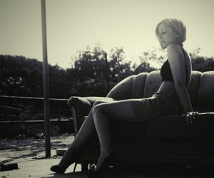 black and white, blond, and heals image