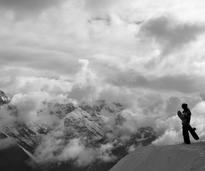 black and white, freedom, and mountain image