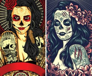 girl, sugar skull, and tattooed image
